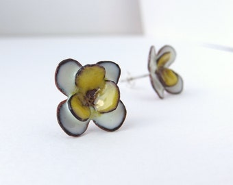 White and Yellow Flowers. handmade glass enamel post earrings