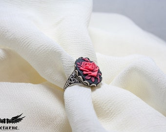 Gothic Cameo Ring - Black and Red Flower Ring - Victorian Gothic Jewelry