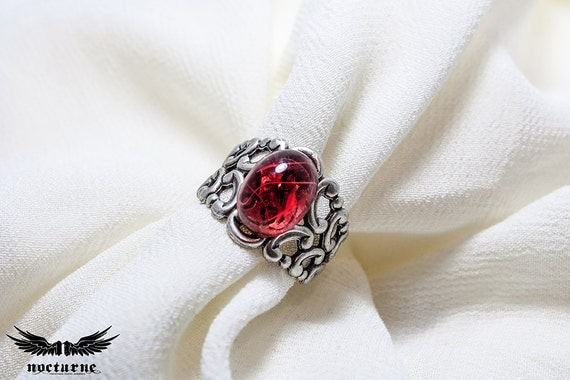 Gothic Ring with Ruby Red Stone - Silver Plated Ornate Ring - Victorian Gothic Jewelry