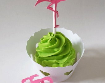 Flamingo Cupcake Toppers Set of 12 By Your Little Cupcake