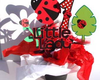 Red Ladybug Themed Party Centerpiece Sticks Set of 5 Personalized With Age in Red With White Dot