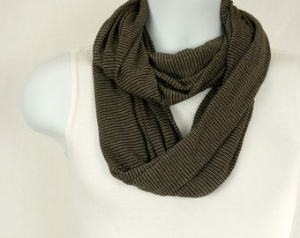 Infinity Scarf for Men Dark Brown Mini Stripes Double Loop Jersey Knit Scarf for Men and Women