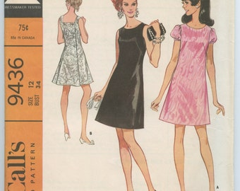 1960s McCall's 9436 Misses' A Line Back Button Mini Dress Sleeveless Puff Sleeves Vintage Sewing Pattern Bust 34
