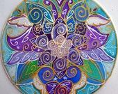 Angel mandala art,spiritual art, When Angels Speak the heart listens, heart mandala, angel art, spiritual art, meditation art,yoga art,