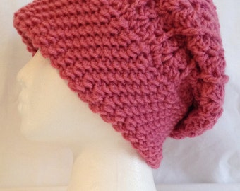 "long slouch beanie textured soft and thick made to fit teen and adults pink color fit's 20-22"" inches"