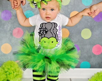 Baby Girl Halloween outfit with tutu, bodysuit, Over The Top bow & leg warmers - Monster Mash - lime green, purple and black