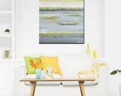 "GICLEE PRINT of Abstract Painting Yellow Grey Art Wall Decor Modern Coastal Canvas Prints Textured Horizon Gold White Sizes to 60"" Christine"