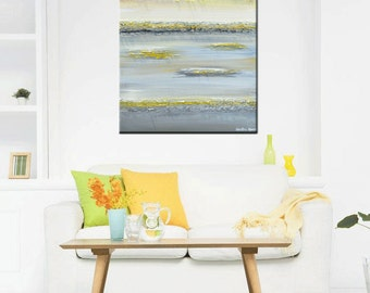 "GICLEE PRINT of Abstract Painting Yellow Grey Large Art Wall Decor Modern Coastal Canvas Prints Horizon Gold White Sizes to 60"" - Christine"