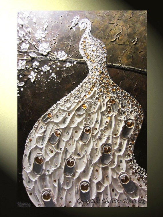 Original Abstract Painting Peacock White Silver Gold Textured