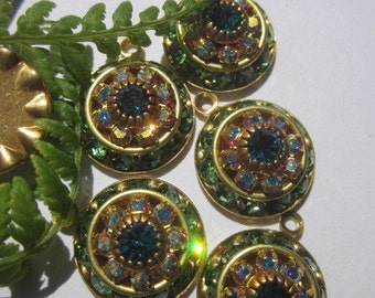Vintage Swarovski Peridot , Crystal AB, IndicoliteThree Layer  Crystal Drop