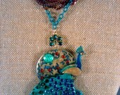Peacock in Paradise ultimate statement necklace (steampunk, fantasy, boho)