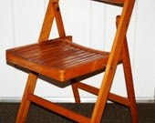 Retro Vintage Mid Century Modern Wooden Slat Folding Side Chair portable seating