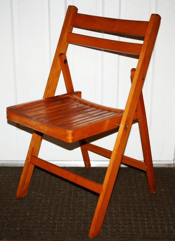 retro vintage mid century modern wooden slat folding side. Black Bedroom Furniture Sets. Home Design Ideas