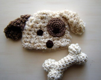Crochet Puppy Beanie and a Bone Set Photography Prop Ready Item