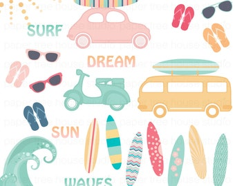 Clip Art Set -  Big Surf, Sunshine, Surfboards, Cars, Vans, Scooters and Sunglasses - 60 Digital Files - JPG and PNG Format - ID 238