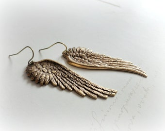 Paradise Wings earrings - Dreamy Golden dangles Swallow bird angel wing Gift for her Nature Freedom Lover woodland jewelry