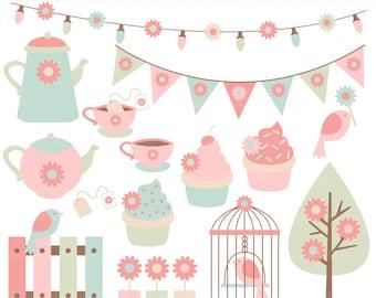 spring garden clip art clipart party tea birds flowers - Garden Party Clip Art