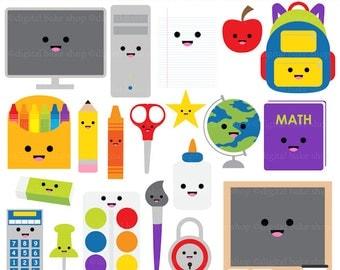 kawaii school clip art digital clipart - Kawaii School Digital Clip Art