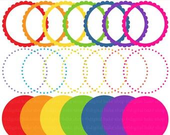 digital circle frames scalloped - Rainbow Digital Circle Frames