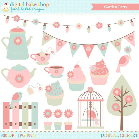spring garden clip art clipart party tea birds flowers. Black Bedroom Furniture Sets. Home Design Ideas