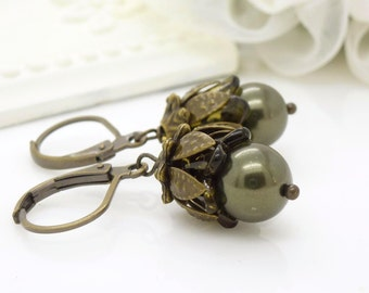 Dark green earrings, Olive green pearl earrings, Antique bronze, Vintage style pearl drop earrings, Beaded jewelry