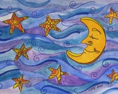 Framed Original Watercolor Collectible - Golden Moon Stars Blue Purple Sky 5 x 7
