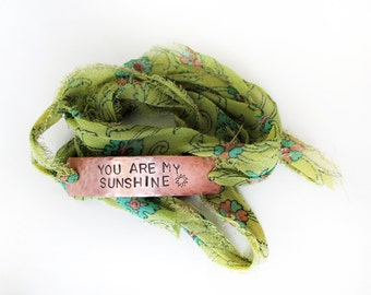 kids inspirational jewelry, You are my sunshine bracelet, sari silk wrap bracelet, adjustable, gift for friend, wrap bracelet, green