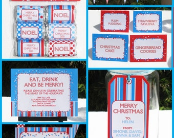 Editable Christmas Party Decorations, Gift Tags & Invitation - Red and Blue - INSTANT DOWNLOAD with EDITABLE text - you personalize at home