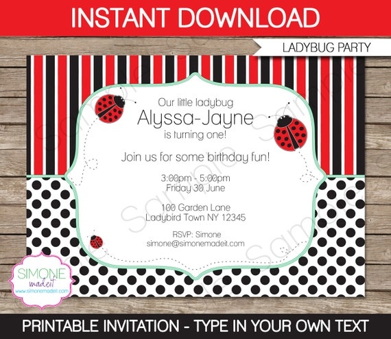 Ladybug Invitation Template Birthday Party INSTANT DOWNLOAD with
