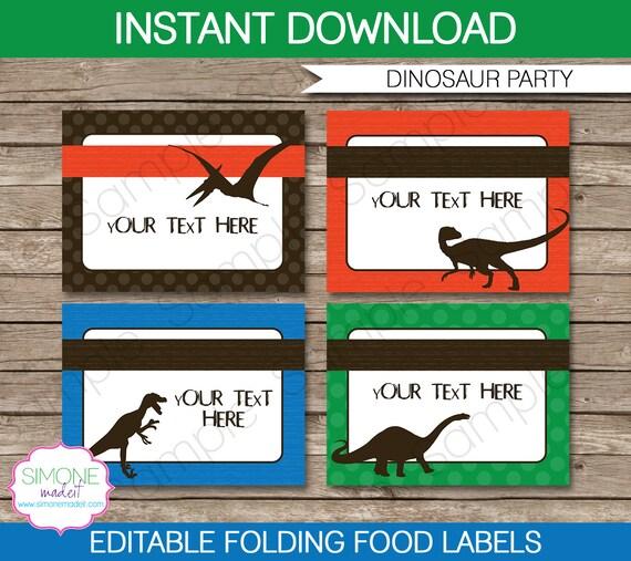 Dinosaur Food Labels