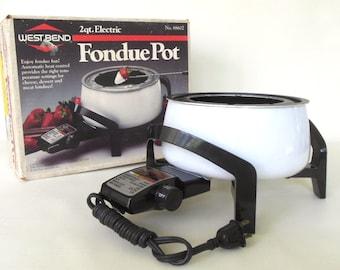 Electric Fondue Pot Set West Bend Vintage 1980s White 88602 Fondue Sets