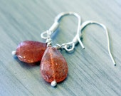 Sparkly Natural Peach Orange Sunstone Teardrop Sterling Silver Earrings