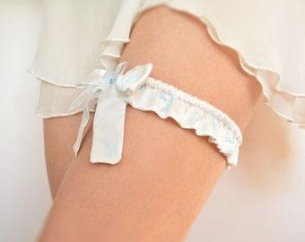 Blue swallows silk bridal garter