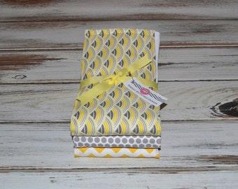 Gender Neutral Baby Burp Cloths - Boutique Yellow Gray Burp Cloth Set - Gray and Yellow Burp Cloths