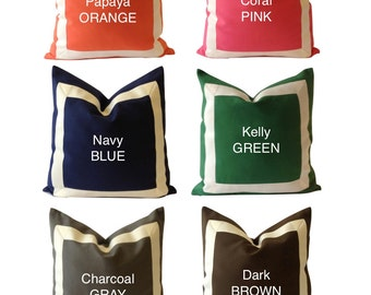 20x20 To 26x26 Cotton Canvas Decorative Pillow Cover with Off White Grosgrain Ribbon Border - Decorative Throw Pillow Cover - Cushion Covers