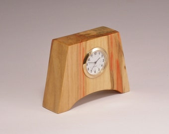 Small Desk Clock in Flame Box Elder