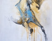 Equine Nude 3t - Original Black Chalk and Watercolor Horse Drawing