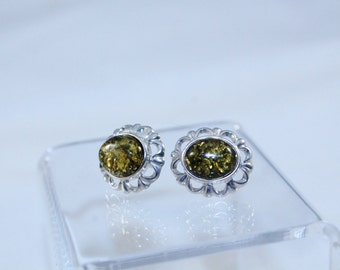 925 Sterling Silver With Gold Flake Look Center Earrings