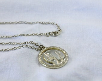 Gold Tone / Golden Virgin Mary In Circle Necklace