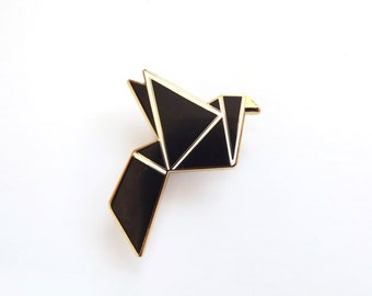 Black Bird Brooch Geometric