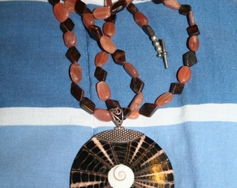 Eye of Shiva Pendant on Peach Moonstone Necklace w Brown Tourmaline and Sterling Silver Bail Beaded BIG!