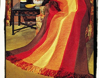 Instant Download PDF Easy Beginners CROCHET PATTERN  to make a Sunset Strip Shaded or Tonal  Afghan Blanket Sofa Throw Picnic Rug