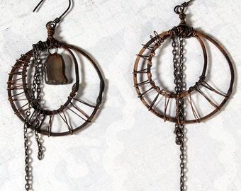 Gypsy Moon Hoop Earrings. Bohemian Jewelry. long chain dangle earring. Belly Dance. Oxidized Copper