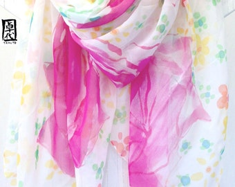 Handpainted Silk Shawl, ETSY, White Scarf, Pink Wild Roses and Yellow Daisies Wrap, Floral Silk Scarf, Silk Scarves Takuyo, 42x71 inches.