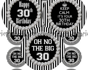 """30th Birthday, 2"""" Circles, Digital Collage Sheet, Black And White Stripes With Bling, Cupcake Toppers, Magnets, Gift Tags, Party Supplies"""