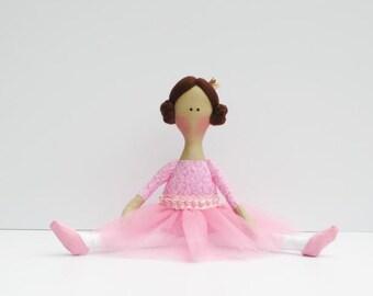 Ballerina fabric doll pink cloth doll cute soft brunette princess doll stuffed doll softie rag doll ballet dancer-  birthday gift for girls