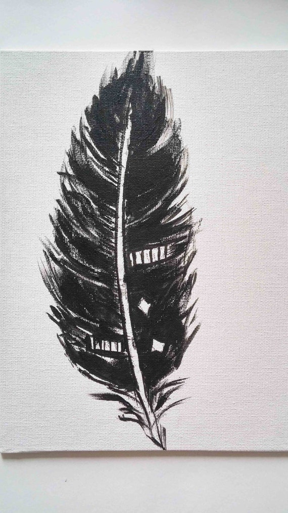 Black feather painting abstract black feather by myartspace for Painting feathers on canvas