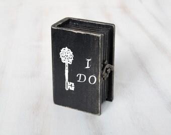 Wedding Ring Bearer Pillow / Box  Black Wedding Box Ring Bearer Box I Do Personalized Ring Bearer Box Engagement box Ring Holder