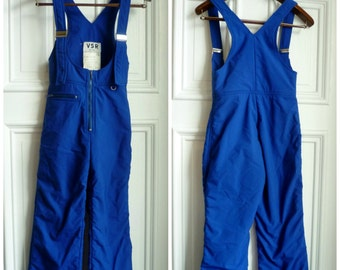 Vintage 1970s Blue Snow Suit/Pants/Overalls - XS