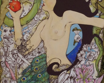Eve, Limited Edition Framed Signed Print with Hand Gold Leaf Detail by Kelly O'Gorman